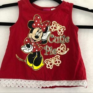 Disney Red Minnie Mouse Cutie Pie Tank Top 4T
